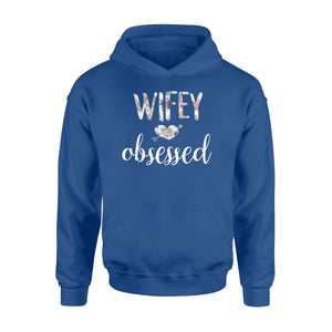 Wifey Obsessed Wife Husband Wedding - Standard Hoodie Apparel S / Royal