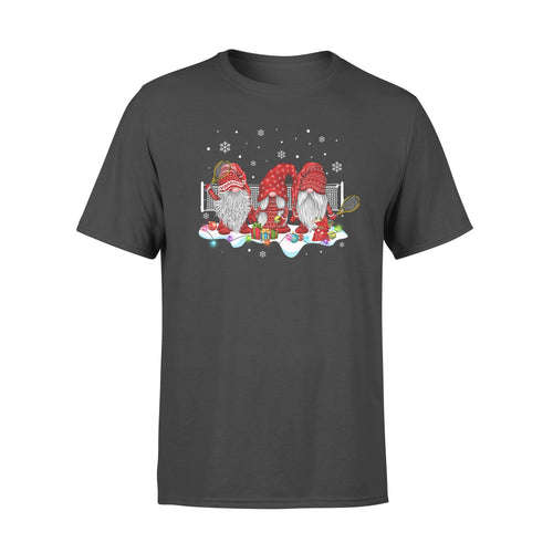 Funny Sport Tennis With Gnome Christmas Family and Friends Gnomies - Standard T-shirt Apparel S / Black