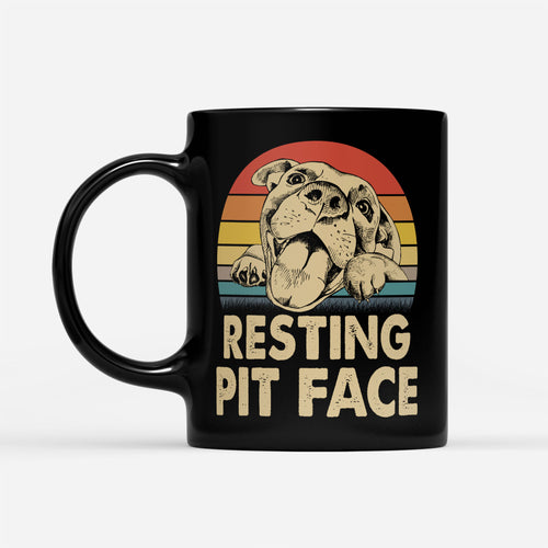 Funny Vintage Dog Resting Pit Face Themed Puppy Owner Pitbull Trainer Graphic Mug - Black Mug Drinkware 11oz
