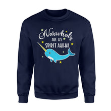 Load image into Gallery viewer, Narwhals Are My Spirit Animal - Standard Fleece Sweatshirt Apparel S / Navy