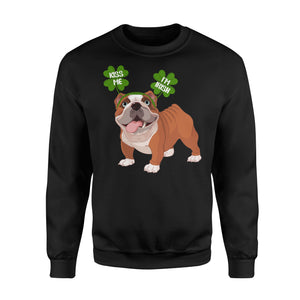 Funny Kiss Me I'm Irish Pug Dog Lovers - Standard Fleece Sweatshirt Apparel S / Black