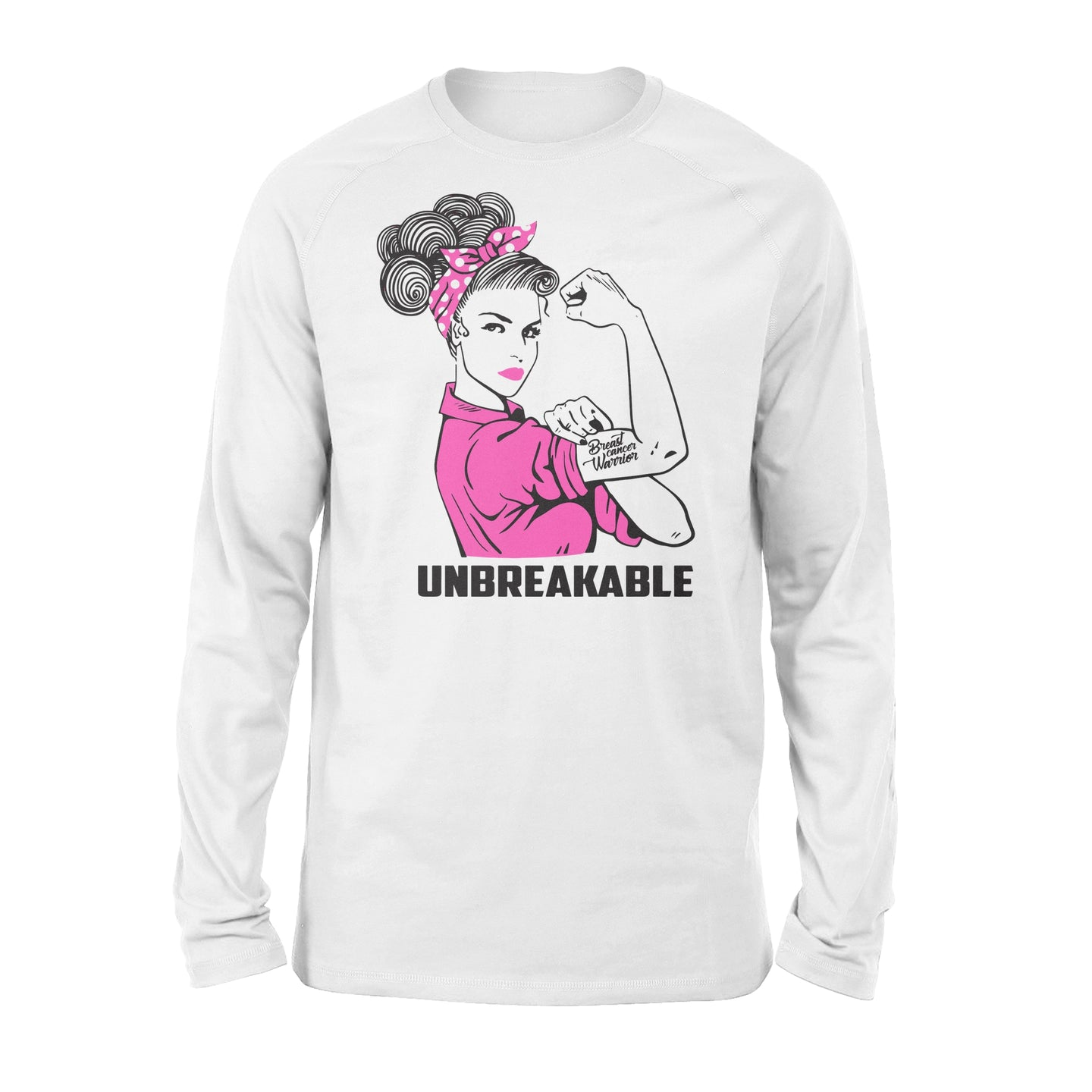 Breast Warrior Unbreakable - Breast Cancer Awareness - Standard Long Sleeve Apparel S / White