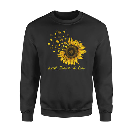 Awesome Sunflower Autism Month Graphic Shirt Awareness Quote Themed - Standard Fleece Sweatshirt