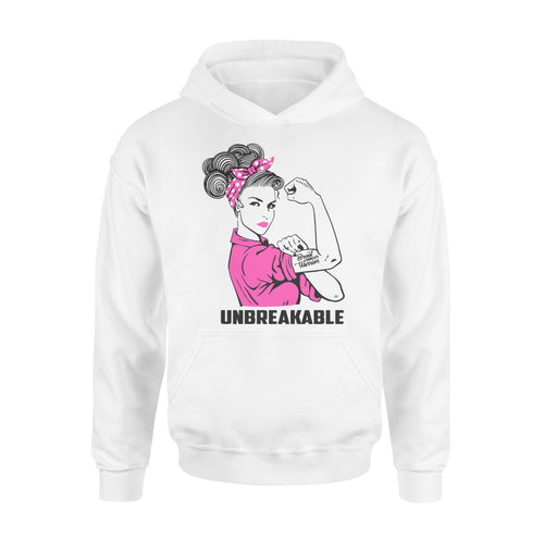 Breast Warrior Unbreakable - Breast Cancer Awareness - Standard Hoodie Apparel S / White
