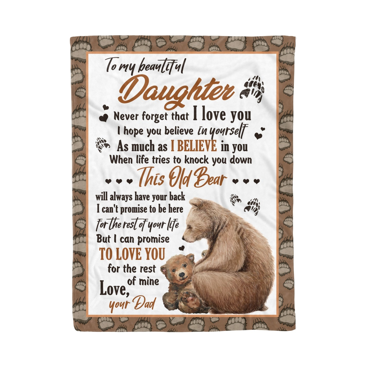 Daughter From Dad Blanket This Old Bear Will Always Have Your Back Themed Design - Fleece Blanket Home Small (30x40in)