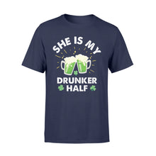 Load image into Gallery viewer, Funny She Is My Drunker Half Irish - Standard T-shirt Apparel S / Navy