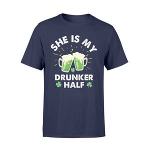 Funny She Is My Drunker Half Irish - Standard T-shirt Apparel S / Navy