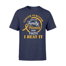 Load image into Gallery viewer, Cancer Survivor With My Family Friends - Faith I Beat It - Standard T-shirt Apparel S / Navy