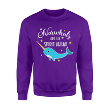 Load image into Gallery viewer, Narwhals Are My Spirit Animal - Standard Fleece Sweatshirt Apparel S / Purple