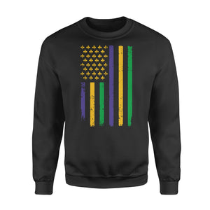 US Mardi Gras Flag Fat Tuesday Tees - Standard Fleece Sweatshirt Apparel S / Black