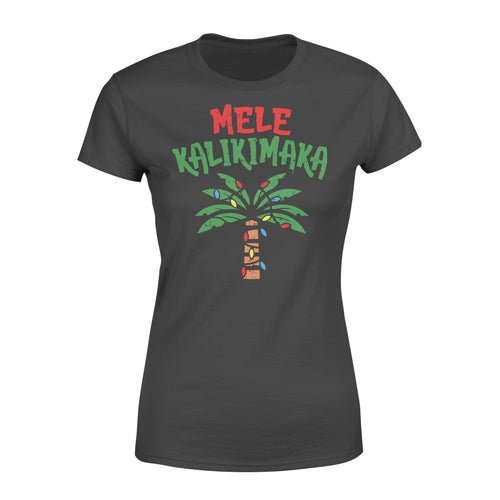 Mele Kalikimaka Palm Tree Shirt Hawaiian Christmas - Standard Women's T-shirt Apparel XS / Black
