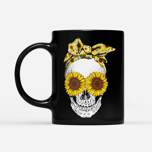Cool Bandana Sunflower Skull Lady Graphic Mug Floral Hippie Girl Season Design - Black Mug Drinkware 11oz