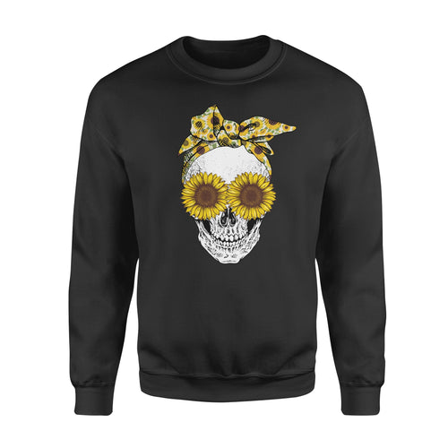 Cool Bandana Sunflower Skull Lady Graphic Shirt Floral Hippie Girl Season Design - Standard Fleece Sweatshirt Apparel S / Black