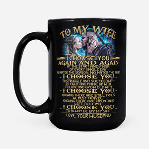 Wife Mug From Husband Valhalla Vikings Couples Quote Graphic Themed - Black Mug Drinkware 15oz