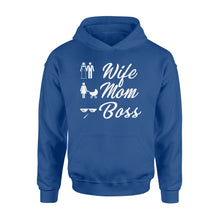 Load image into Gallery viewer, Wife Mom Boss Funny - Standard Hoodie Apparel S / Royal