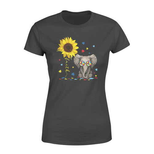 Awesome Faith Sunflower Elephant Autism Support Shirt Awareness Month - Standard Women's T-shirt