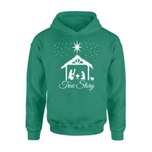 Load image into Gallery viewer, Christmas Nativity Shirt True Story Jesus Christian - Standard Hoodie Apparel S / Kelly