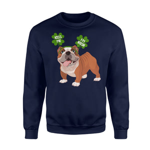 Funny Kiss Me I'm Irish Pug Dog Lovers - Standard Fleece Sweatshirt Apparel S / Navy
