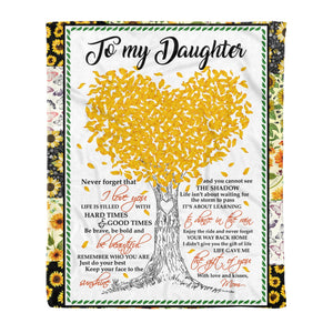 Daughter From Mom Blankets Life Gave Me The Gift Of You Sunflower Themed Family Quote - Fleece Blanket Home Medium (50x60in)