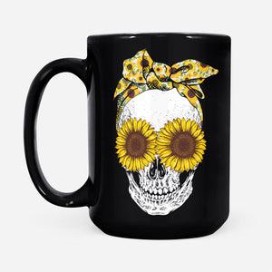 Cool Bandana Sunflower Skull Lady Graphic Mug Floral Hippie Girl Season Design - Black Mug Drinkware 15oz