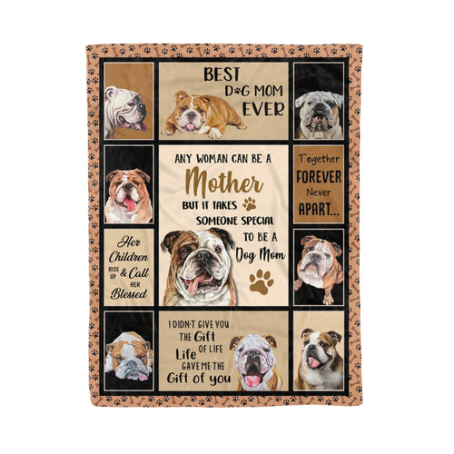 Daughter Son For Dog Mom Blanket Design Bulldog Mother Lovers Cute Pet Puppy Graphic - Fleece Blanket