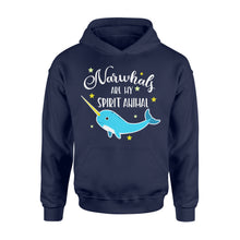 Load image into Gallery viewer, Narwhals Are My Spirit Animal - Standard Hoodie Apparel S / Navy