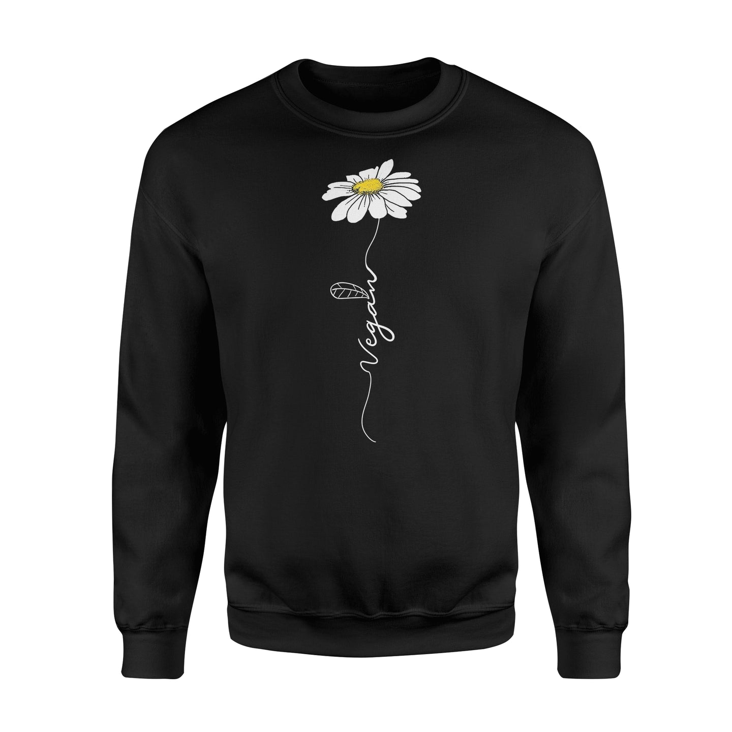 Vegan Hippie Vegetable Flower T shirt - Standard Fleece Sweatshirt Apparel S / Black