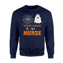 Load image into Gallery viewer, Nursing Halloween You Can't Scare Me I'm A Nurse - Standard Fleece Sweatshirt Apparel S / Navy