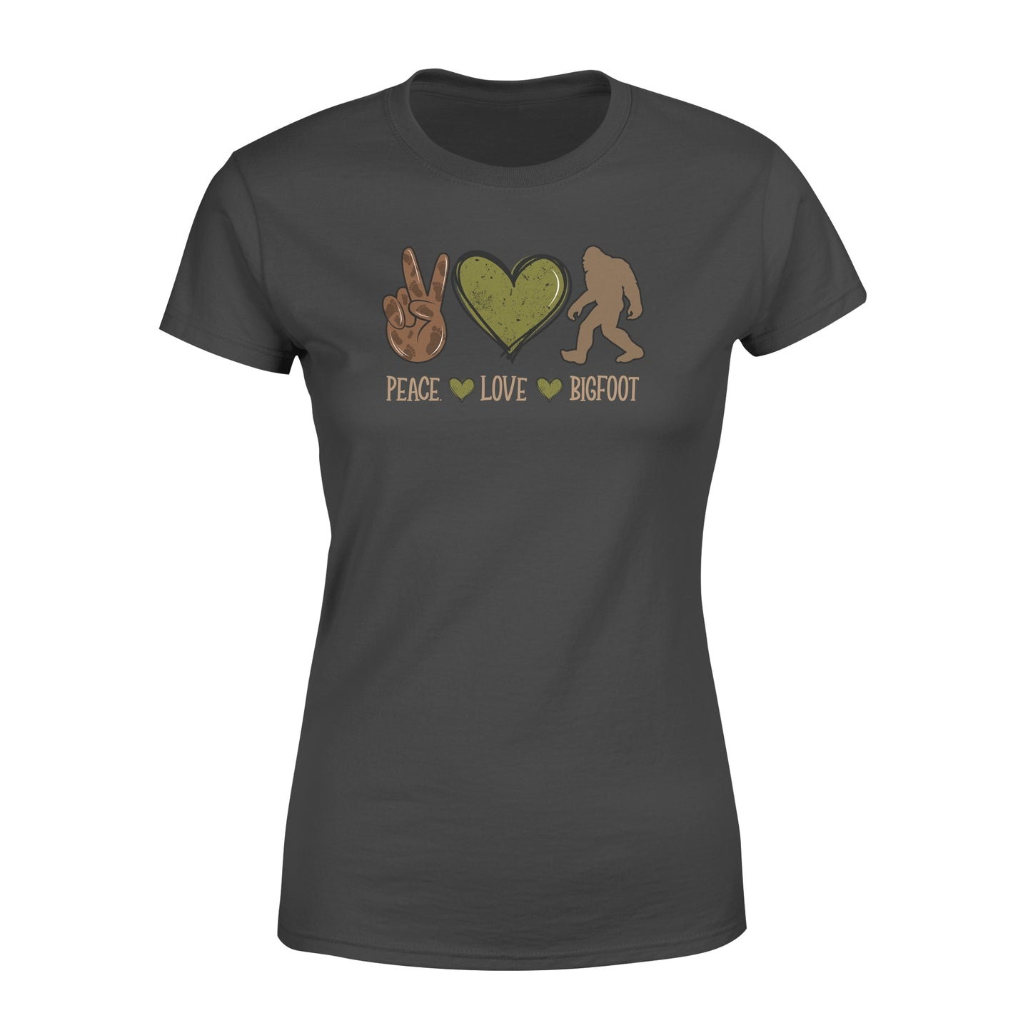 Funny Peace Love Bigfoot Slogan Shirts Sasquatch Outdoor Camping Lovers - Standard Women's T-shirt