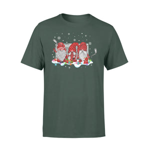 Funny Sport Ice Hockey Gnome Christmas Family Xmas Friends Gnomies - Standard T-shirt Apparel S / Forest