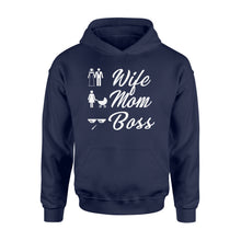 Load image into Gallery viewer, Wife Mom Boss Funny - Standard Hoodie Apparel S / Navy