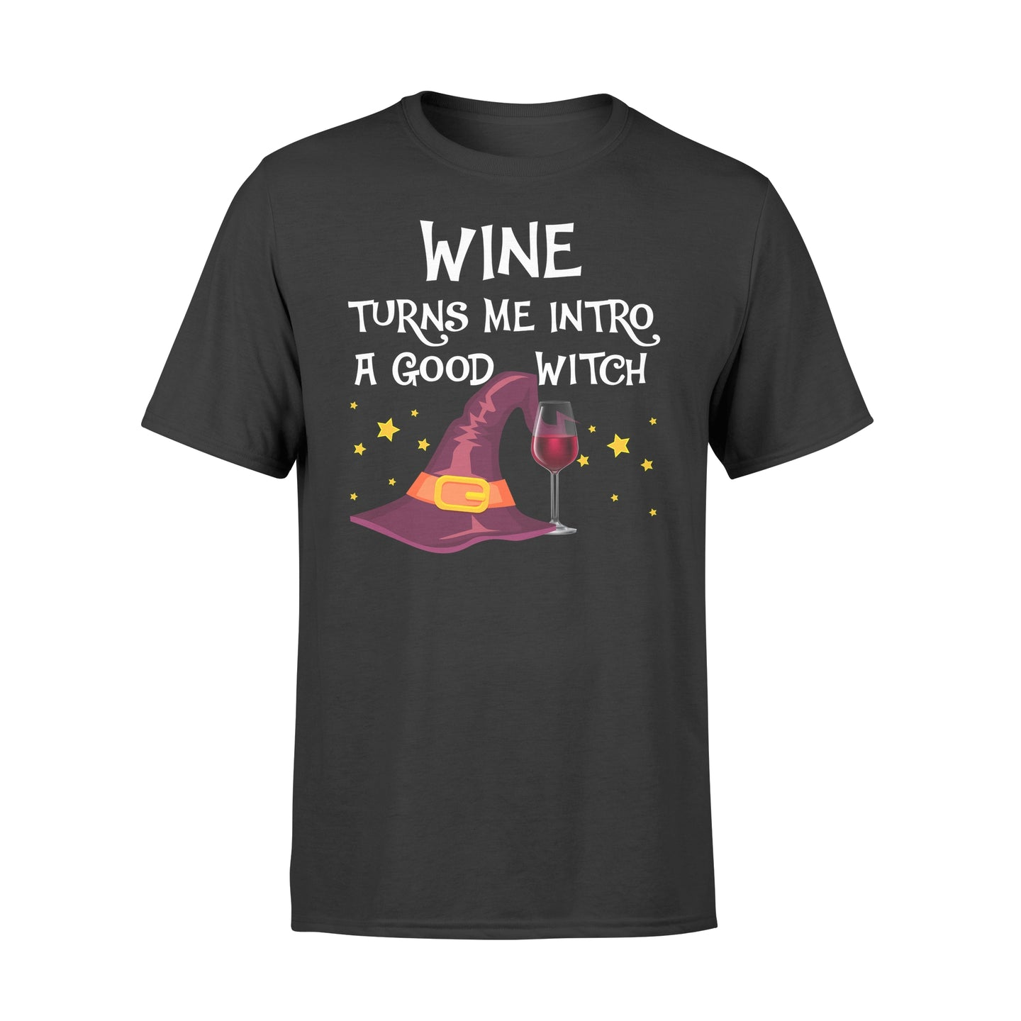 Wine Turns Me Intro A Good Witch Halloween T Shirt - Standard T-shirt Apparel S / Black