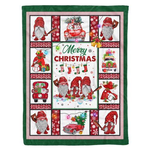 Family Christmas Blanket Cool Baseball Uncle Player Gnomes Santa With Sayings - Fleece Blanket Home Large (60x80in)