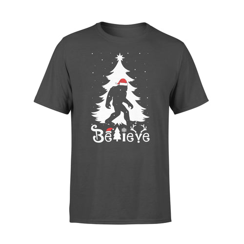 Funny Believe Bigfoot Santa Christmas Forest Bigfoot Sasquatch Shirts - Standard T-shirt Apparel S / Black