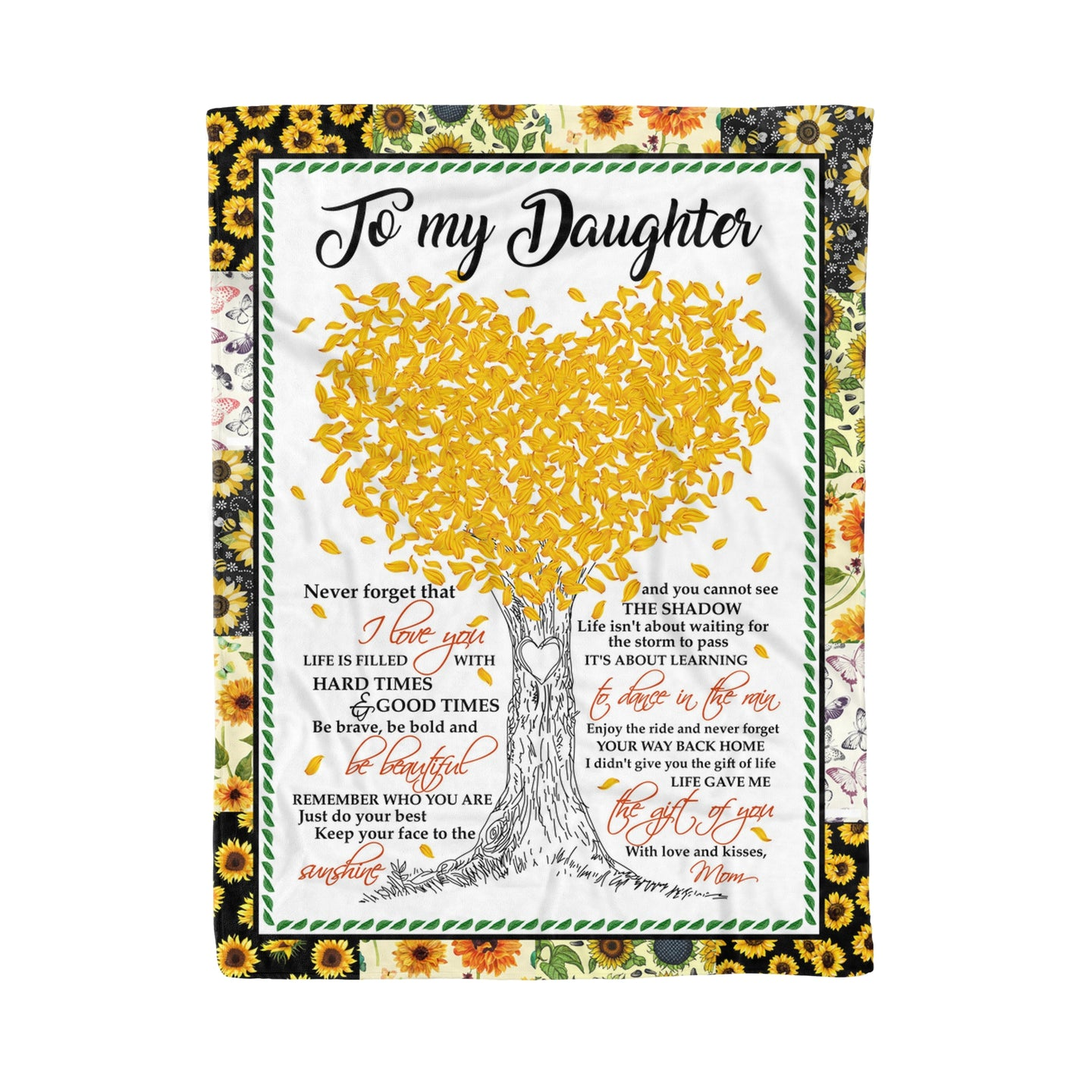 Daughter From Mom Blankets Life Gave Me The Gift Of You Sunflower Themed Family Quote - Fleece Blanket Home Small (30x40in)