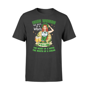 Irish Woman The Soul Of A Witch Halloween Tee - Standard T-shirt Apparel S / Black