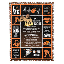 Load image into Gallery viewer, Mom Support Football Son Graphic Blanket Design Sports Family Birthday Gift - Fleece Blanket