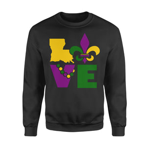 I Love Mardi Gras Holiday - Standard Fleece Sweatshirt Apparel S / Black