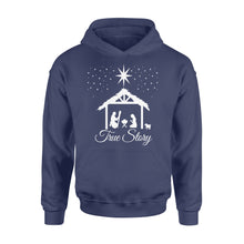 Load image into Gallery viewer, Christmas Nativity Shirt True Story Jesus Christian - Standard Hoodie Apparel S / Navy