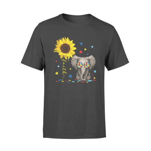 Awesome Faith Sunflower Elephant Autism Support Shirt Awareness Month - Standard T-shirt