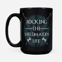 Load image into Gallery viewer, Cool Graphic Design Viking Women Rocking The Shieldmaiden Life Mug - Black Mug Drinkware 15oz