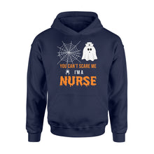 Load image into Gallery viewer, Nursing Halloween You Can't Scare Me I'm A Nurse - Standard Hoodie Apparel S / Navy