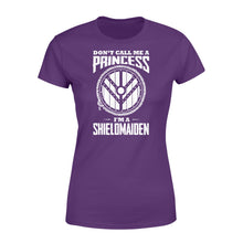 Load image into Gallery viewer, Don't Call Me A Princess I'm A Shieldmaiden Viking - Standard Women's T-shirt Apparel XS / Purple
