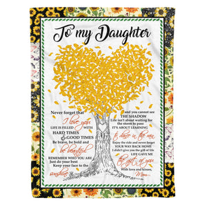 Daughter From Mom Blankets Life Gave Me The Gift Of You Sunflower Themed Family Quote - Fleece Blanket Home Large (60x80in)