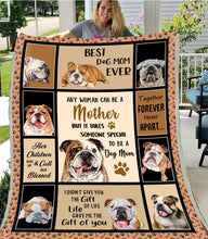 Load image into Gallery viewer, Daughter Son For Dog Mom Blanket Design Bulldog Mother Lovers Cute Pet Puppy Graphic - Fleece Blanket