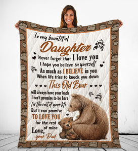 Daughter From Dad Blanket This Old Bear Will Always Have Your Back Themed Design - Fleece Blanket Home [variant_title]