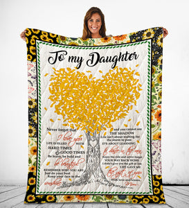 Daughter From Mom Blankets Life Gave Me The Gift Of You Sunflower Themed Family Quote - Fleece Blanket Home [variant_title]
