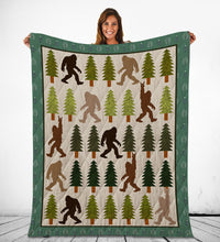 Load image into Gallery viewer, Trendy Bigfoot Walking In The Forest Graphic Blanket Design Sasquatch Believers - Fleece Blanket Home [variant_title]