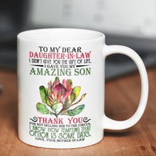 Load image into Gallery viewer, Trendy Mom To Daughter In Law Graphic Mug Protea Flower Themed Designs For Sale - 11oz White Mug Drinkware [variant_title]
