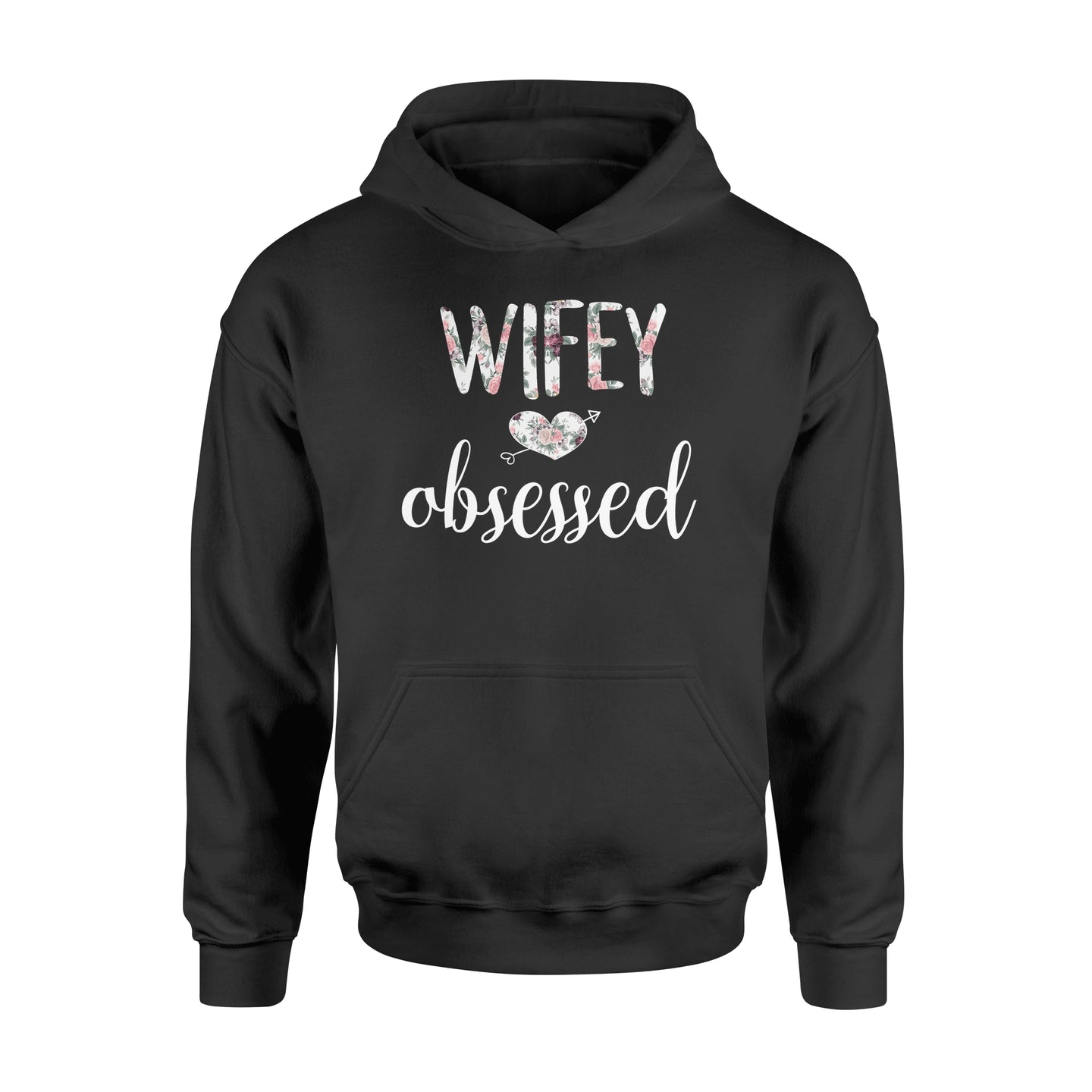 Wifey Obsessed Wife Husband Wedding - Standard Hoodie Apparel S / Black